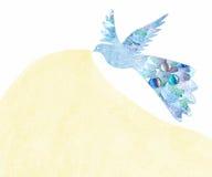 oiseau abstrait d'isolement sur le fond blanc Oiseau grunge de style avec des feuilles Image stock