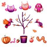 Oiseau, arbre, liaves, ver de terre, potiron, position, gland, pomme illustration de vecteur