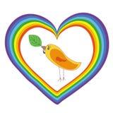 Oiseau au coeur d'arc-en-ciel Photographie stock