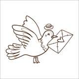 Oiseau avec la lettre. Photographie stock
