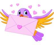 Oiseau avec la lettre d'amour Photographie stock libre de droits