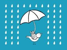 Oiseau avec le parapluie sous la pluie Photos libres de droits