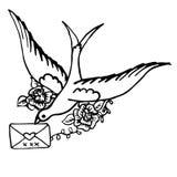 Oiseau avec une lettre. Croquis drwan de main Image libre de droits