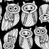 Oiseau blanc mignon d'Owl Sketch Doodle de dravn décoratif de main sur un modèle sans couture de fond noir Vecteur Image libre de droits