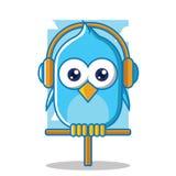 Oiseau bleu avec l'écouteur Photos libres de droits