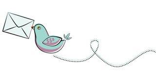Oiseau bleu avec la lettre Photo stock