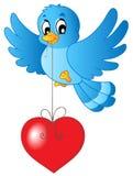 Oiseau bleu avec le coeur sur la chaîne de caractères illustration stock