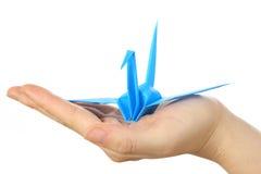 Oiseau bleu de papier japonais de la chance Photographie stock libre de droits