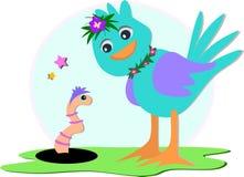 Oiseau bleu et ver de terre illustration libre de droits