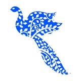 Oiseau bleu fleuri de vol abstrait illustration de vecteur