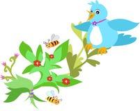 Oiseau bleu lisse d'atterrissage avec des abeilles et des fleurs illustration libre de droits
