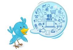 Oiseau bleu social de medias de gestion de réseau avec un discours Bub Photos stock