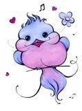 Oiseau bleu watercolor Photo libre de droits