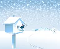 Oiseau chanteur de Santa dans la neige Photos libres de droits