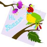 Oiseau coloré chantant sur une branche Fond lilas Photographie stock