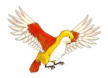 Oiseau coloré exotique de bande dessinée - volant sur le fond blanc illustration stock