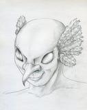 Oiseau - croquis de visage d'homme Photos stock