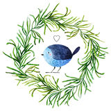 Oiseau d'aquarelle Photo stock