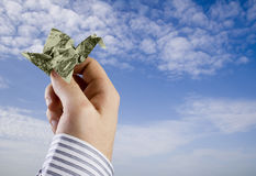 Oiseau d'argent d'Origami Photographie stock