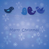 Oiseau d'hiver sur une branche Photo stock