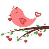 Oiseau dans l'amour Photo stock