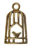 Oiseau dans une cage, élément décoratif, d'isolement sur le fond blanc images stock