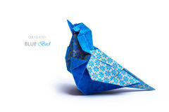 Oiseau de bleu d'origami Photos stock