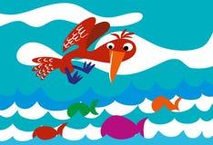 Oiseau de chasseur volant au-dessus de la mer illustration libre de droits