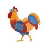 Oiseau de ferme de coq coloré dans le style moderne d'Artictic rempli de bleu, de formes géométriques rouges et oranges et de poi Photos stock