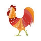 Oiseau de ferme de coq coloré dans le style moderne d'Artictic rempli de modèle rayé et de blanc Dots Colorful de couleurs chaude Images libres de droits