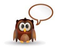 Oiseau de hibou avec la parole de bulle Photo stock
