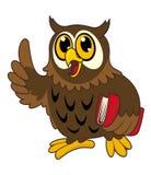 Oiseau de hibou de dessin animé avec le livre Image stock