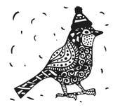 Oiseau de merle de Zentagle dans des graphiques d'un chapeau de Noël illustration stock