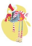 Oiseau de Noël avec le boîte-cadeau Photos libres de droits