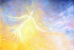 Oiseau de Phoenix volant dans le ciel, collage graphique de peinture illustration de vecteur
