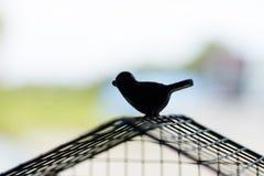 Oiseau de silhouette s'échappant de la cage Concept de liberté Photo libre de droits