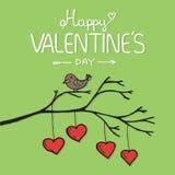 Oiseau de Valentine avec la carte Illustration de vecteur Image libre de droits
