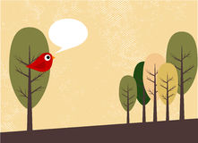 Oiseau et arbres illustration stock