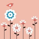 Oiseau et fleur de vecteur Photos libres de droits