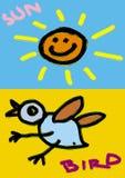 oiseau et soleil smilling Photographie stock libre de droits