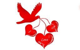 Oiseau et symbole d'amour Photographie stock