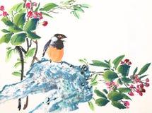 Oiseau et usine chinois de peinture d'encre illustration libre de droits