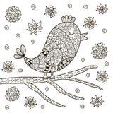Oiseau mignon de zentangle se reposant sur la branche pour livre de coloriage Photo stock