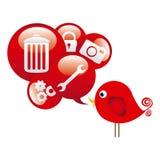 oiseau mignon rouge de bande dessinée avec la bulle de dialogue avec des éléments Images stock