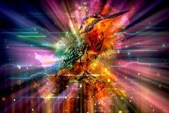 Oiseau multicolore artistique de résumé rougeoyant à un arrière-plan coloré visualisé illustration de vecteur