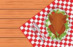 Oiseau rôti de dinde de plat ovale avec la fourchette et de couteau sur l'étiquette rouge Images libres de droits