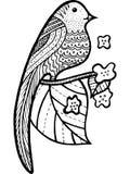 Oiseau sur la branche avec des feuilles et des fleurs colorant la page illustration stock