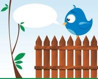 Oiseau sur une frontière de sécurité en bois illustration stock