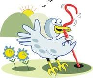 Oiseau tôt avec le dessin animé de ver de terre Photo libre de droits