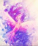 Oiseau volant de Phoenix comme symbole de renaissance et de nouveau début, effet de marbre illustration libre de droits